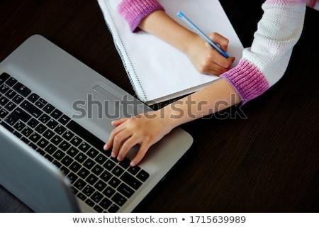 Felismerhetetlen iskolás lány tanul otthon notebook iskola Stock fotó © Illia