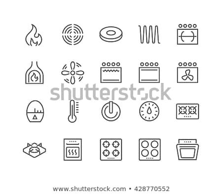 Verwarming kachel icon vector schets illustratie Stockfoto © pikepicture