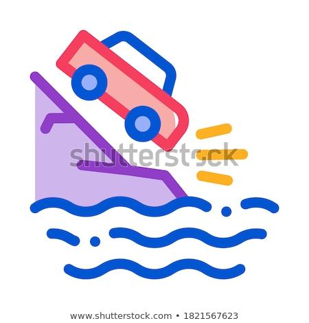 Penhasco voador carro ícone vetor Foto stock © pikepicture
