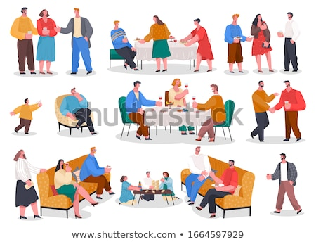 People Eat and Play on Banquet, Home Reception Stock photo © robuart