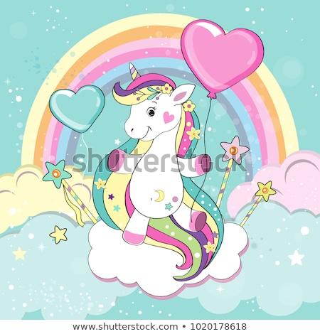 Stock photo: Vector Illustration Of Cheerful Unicorn With Rainbow Hair