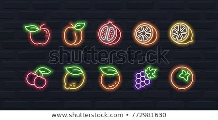 Frutta neon icone cibo sano promozione alimentare Foto d'archivio © Anna_leni