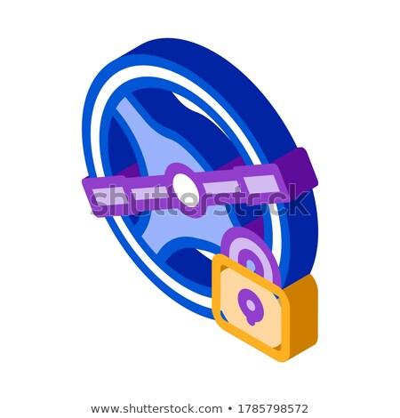 Vezetés tilalom izometrikus ikon vektor felirat Stock fotó © pikepicture
