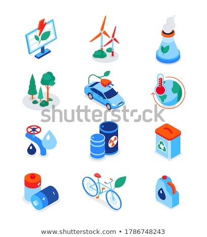 Eco lifestyle - modern colorful isometric icons set Stock photo © Decorwithme