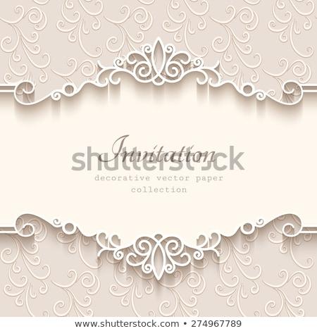 приглашения приветствие белый кружево свадьба Сток-фото © oksanika