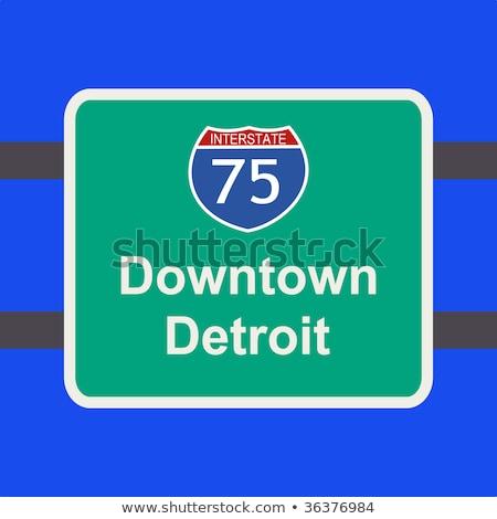 Detroit sinal da estrada verde Michigan EUA nuvem Foto stock © kbuntu