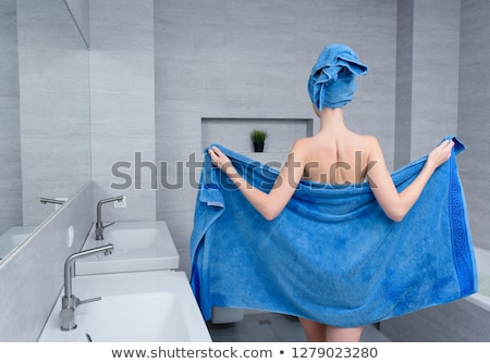 Stock photo: girl with blue towel