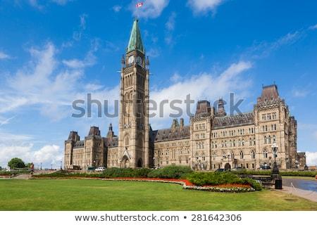ストックフォト: 議会 · カナダ · オタワ · 早朝 · 光 · 曇った