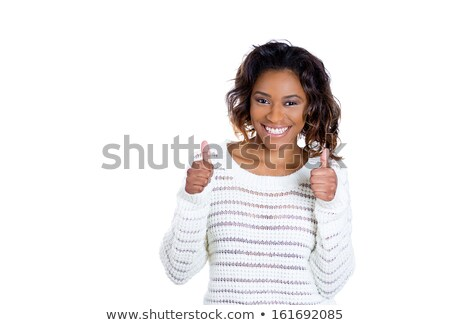 Smiling Ethnic Female with Okay Hand Sign on White Stock photo © feverpitch