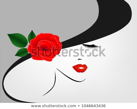 vintage girl face in hat with rose stock photo © smeagorl