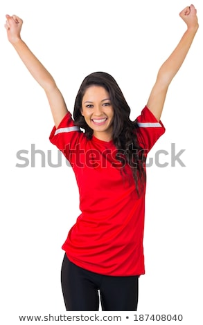 woman in front of red fans Stock photo © imarin