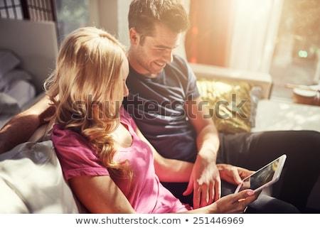 comprometido · casal · jovem · feliz · raso · campo - foto stock © photography33