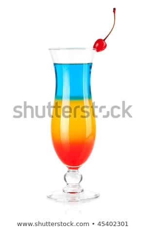Layered tropical cocktail with maraschino Stock photo © karandaev