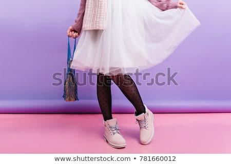 Feminino pernas preto meia-calça isolado branco Foto stock © Nobilior