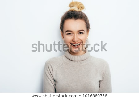 Stok fotoğraf: Portre · genç · kadın · çığlık · atan · kız · saç · güzellik