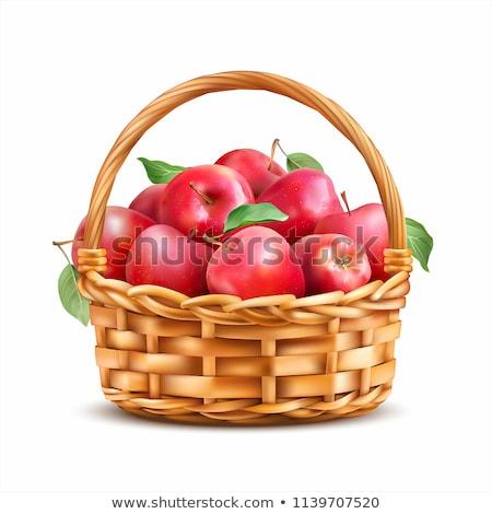 manzanas · cesta · rojo · vintage · estudio - foto stock © anskuw