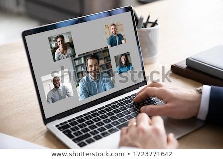Foto d'archivio: Moderno · computer · portatile · blu · nuvoloso · cielo
