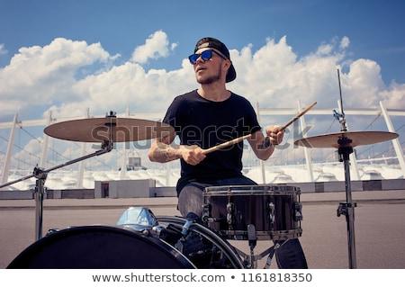férfi · játszik · dobok · élet · zene · színpad - stock fotó © photography33