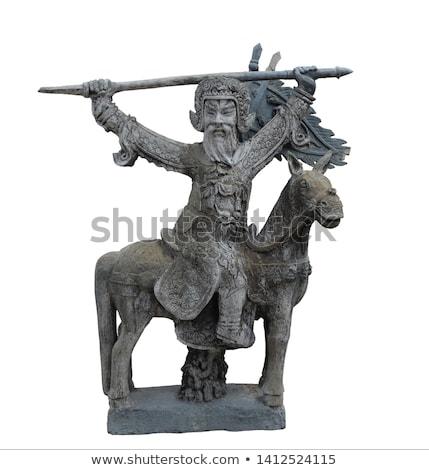 Kamień posąg wojownika straży odizolowany biały Zdjęcia stock © pzaxe