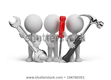 3d · man · teamwerk · geïsoleerd · witte · business · kantoor - stockfoto © digitalgenetics
