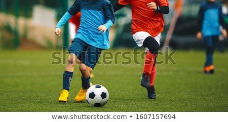 シルエット 少年 サッカーボール 青 子供 ストックフォト © nebojsa78