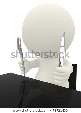 3D People With knife and fork Stock photo © Quka