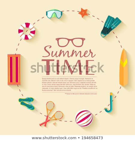 summer time concept palms and starfish vector stock photo © carodi