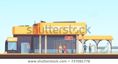 Estação de trem trem relógio vertical preto e branco Foto stock © ABBPhoto
