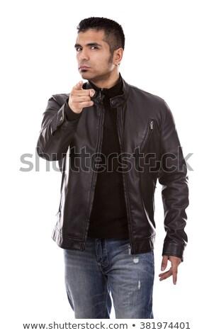 öfkeli · bakmak · yakışıklı · adam · deri · ceket · yakışıklı - stok fotoğraf © konradbak