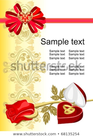 Esküvői meghívó kártya rubin szív gyűrű szeretet Stock fotó © carodi