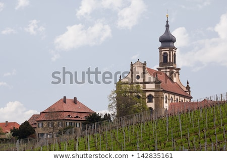 templom · Németország · evangélikus · kicsi · falu · fölött - stock fotó © backyardproductions