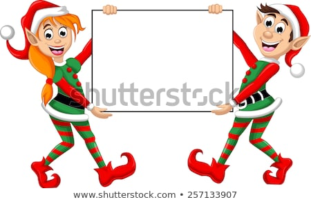 Stock photo: Two christmas elfs holding a blank sign