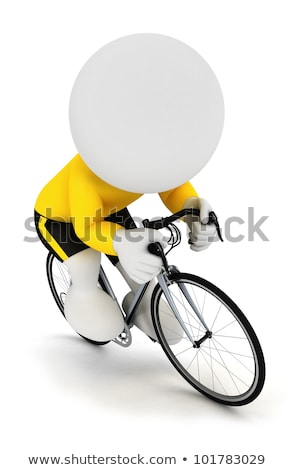 The 3d Little Man By Bicycle ストックフォト © 3dmask