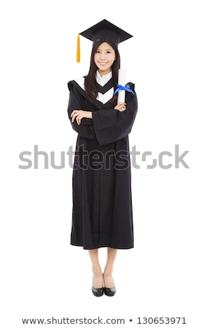 beautiful smiling young graduation woman standing stock photo © elwynn