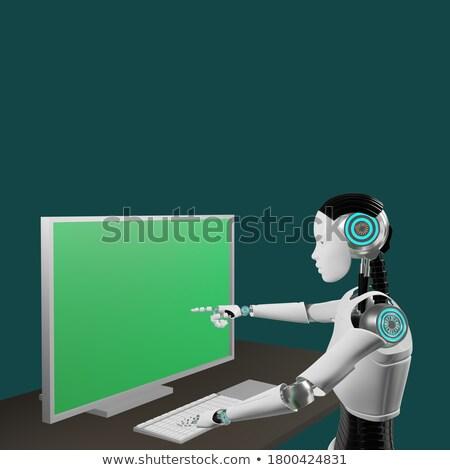белый · робота · щелчок · что-то · 3d · иллюстрации · промышленности - Сток-фото © kirill_m