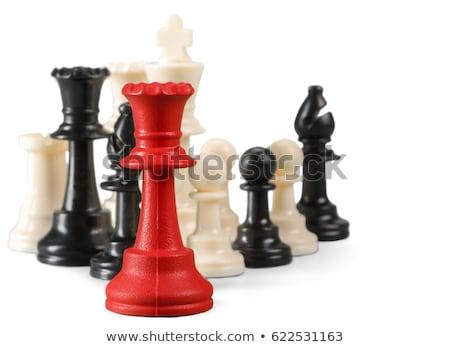 xadrez · em · pé · pronto · sucesso · jogo · plano - foto stock © andromeda
