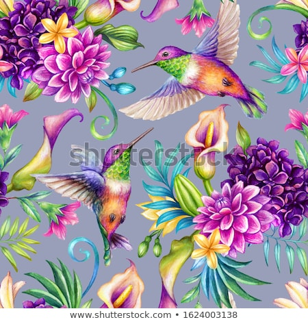 Stock photo: Seamless pattern of birds and flowers