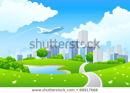 Avion nature paysage bâtiments corde bord Photo stock © cherezoff