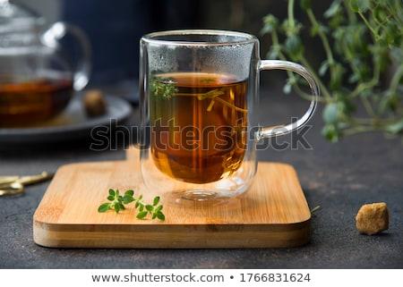 Herbaty tle muzyka pić pozostawia śniadanie Zdjęcia stock © yelenayemchuk