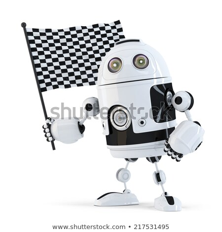 Stock photo: Robot waving chequered flag.Isolated. Contains clipping path