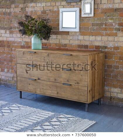 Modern fehér fából készült mellkas fiókok kék Stock fotó © smuki