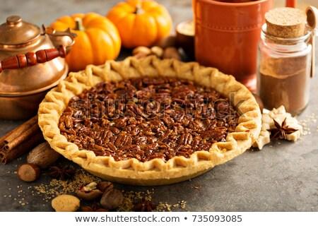 Taart houten plaat dessert Stockfoto © dehooks