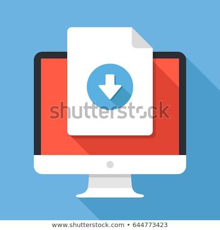 Pdf документа синий вектора икона кнопки Сток-фото © rizwanali3d