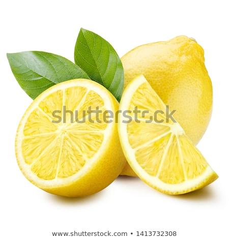 レモン · 緑色の葉 · 白 · 果物 · 健康 - ストックフォト © silroby