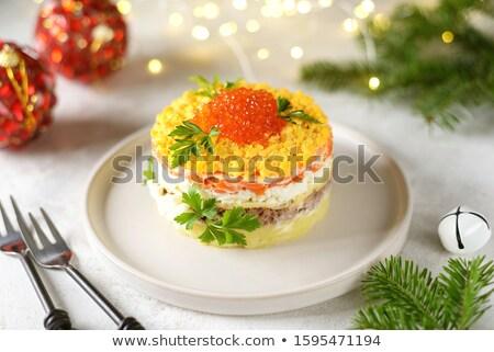 saláta · lazac · ikra · egészséges · vegetáriánus · fehér - stock fotó © ironstealth