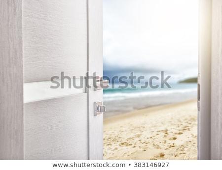 Open deur strand vakantie hemel licht ontwerp Stockfoto © denisgo
