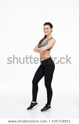 bruna · fitness · donna · piegato · braccia · studio - foto d'archivio © deandrobot