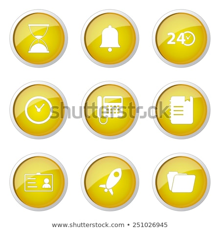 Stock fotó: Time Duration Yellow Vector Button Icon Design Set