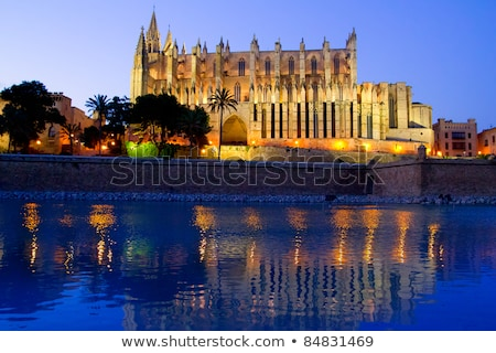 Cathedral of Palma de Mallorca illuminated at night Stock photo © smuki