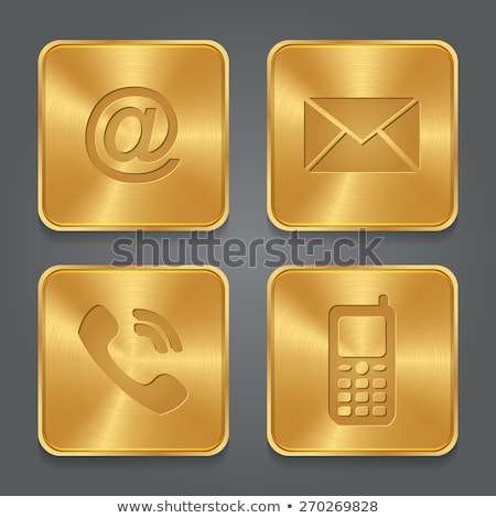 Phone golden Vector Icon Design stock photo © rizwanali3d